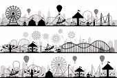 Amusement Park Landscape. Carnival Roller Coasters Silhouettes, Festive Carousel And Ferris Wheel Pa poster