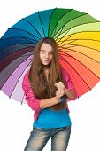 Fashion Girl With Umbrella