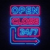 Open Close Neon Signs Vector. Neon Signboards Design Template, Light Banner, Night Signboard, Nightl poster