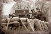 Artillery 1918. Civil War in Russia reenacting
