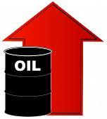 Barrel Oil W Rising Arrow Behind