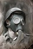 German soldier in gas mask . WW2 reenacting