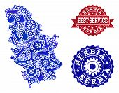 Best Service Collage Of Blue Mosaic Map Of Serbia And Rubber Stamps. Mosaic Map Of Serbia Designed W poster