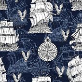 Seamless Pattern With Antique Sea Vessel, Nautical Compass And Gulls On Blue Texture. Graphic Nautic poster