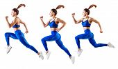 Young Woman Runner In Blue Sportswear Jump In The Air. Dynamic Movement. poster