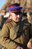 KIEV,UKRAINE - NOV 9: Person in Soviet WW2 military uniform of NKVD (KGB) Member of military history