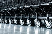 Row Of Shopping Cart And Area Handling In Supermarket Store, Roller Of Trolley In Department Shop. B poster