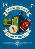 Time To Travel Banner Or Poster With Travel Luggage, Travel Bag, Compass, Passport And Boarding Pass poster
