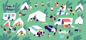 Summer Camp Festival. People Or Tourists Living In Tents, Travel Trailers And Camper Vans, Cooking A poster