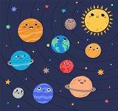 Funny Planets Of Solar System And Sun With Smiling Faces. Adorable Celestial Bodies In Outer Space.  poster