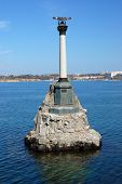 Monument to scuttled Russian ships, sunk by Russian sailors in 1854 to obstruct entrance to Sevastopol bay. One of symbols of Sevastopol.Crimea,Ukraine