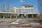 Chernobyl area. Lost city Pripyat. Modern ruins. Ukraine. Kiev region. Hotel