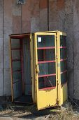 Phone-box.Chernobyl area. Lost city Pripyat. Modern ruins. Ukraine. Kiev region.