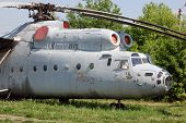 The Russian military-transport helicopter Mi-6.Aviation museum of Kiev , Malorussia (Ukraine)