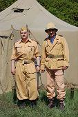 Kiew, UKRAINE - 9. Mai: Mitglieder eines Clubs Militärgeschichte tragen eine historische deutsche Fallschirmspringer-tropi