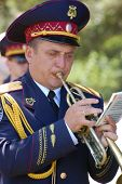 KIEV,UKRAINE- JUNE 21:  Trumpeter. Lost soldiers of WW2 funerals. June 21,2008. Kiev,Ukraine