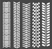 Seamless Tire Tracks, Tread Marks Vector Set. Mark From Tire, Illustration Of Print Tire poster