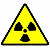 stock photo of radium  - radiation symbol painted on a white background - JPG