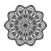 Round Black Mandala On White Isolated Background. Vector Boho Mandala With Floral Patterns. Anti-str poster