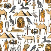 Egypt Religion Vector Seamless Pattern Of Ancient Egyptian Symbols. Nefertiti And Ra, Anubis And Pyr poster