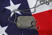 US flag and dog tag