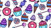 Seamless Texture With Cute, Kawai Sweets And Confection On White Background. Vector Pattern For Text poster