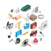 Creature Icons Set. Isometric Set Of 25 Creature Icons For Web Isolated On White Background poster