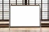 Modern Empty Blank Advertising Billboard At A Railroad Station. Mockup For Your Advertising Project. poster