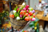 Wooden Tulips And Decorations Sold On Easter Market In Vilnius. Annual Spring Fair Hold In March On  poster