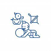 Baby Playing, Duck, Baby, Ball, Whirligig Line Icon Concept. Baby Playing, Duck, Baby, Ball, Whirlig poster