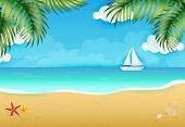 Idyllic Background Of Tropical Beach Landscape Vector Illustration. Summer Resort, Paradise, Sea. Va poster