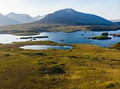 Beautiful Sunset View Of Connemara. Scenic Irish Countryside Landscape With Magnificent Mountains On poster