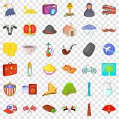 World Tour Icons Set. Cartoon Style Of 36 World Tour Vector Icons For Web For Any Design poster