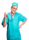 humorous portrait of a young surgeon with a stethoscope, isolated against white background