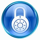 Lock Off, Icon Blue, Isolated On White Background.