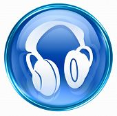 Headphones Icon Blue, Isolated On White Background.
