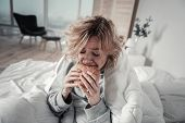 Woman Biting Burger While Eating Too Much In Depression poster