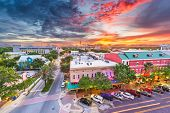 Gainesville, Florida, USA downtown cityscape at dusk. poster