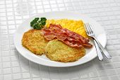 diner style hash browns, scrambled eggs and bacon poster