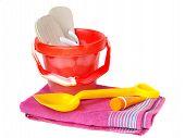 Bucket,Spade,Towel Sun-Cream And Flip-Flops