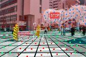 Autonomous Driving Concept Showing Lidar, Radar And Camera Sensor Signal System, Self-driving poster