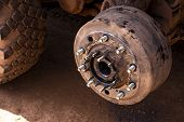 Maintenance A Truck Wheels Hub And Bearing .rear Wheels Hub And Bolt Nut Of A Truck In Process Of Ch poster