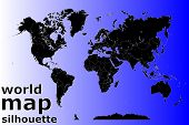 Silhouette Of A World Map With All Continents And Large Islands, Vector poster