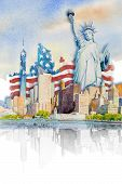 Painting Landmark Travel In Usa. Statue Liberty, Famous Landmarks Of The World. Watercolor Paintings poster