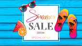 Summer Banner With Light Blue Planks Wood Decorated By Summer Elements Such As Red Sunglasses, Color poster