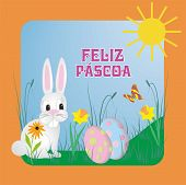 Vector Illustration With Cute Bunny-rabbit And Portugues Text Feliz Páscoa, Means Happy Easter poster