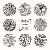 Hand Drawn Wavy Linear Textures Made With Ink. Artistic Collection Of Graphic Design Elements. Swirl poster