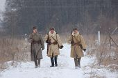 KIEV, UKRAINE - FEB 20: Members of military history club RedStar wear historical Soviet uniform duri
