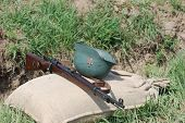 KIEV, UKRAINE - MAY 8 : Red Star military history club. German munition and weapon replica during hi