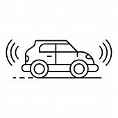 Electric Self Driving Car Icon. Outline Electric Self Driving Car Icon For Web Design Isolated On Wh poster